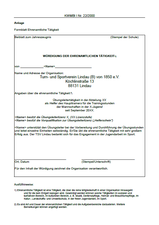 Tsv Zeugnis Für Ehrenamtliche Tsv Lindau Von 1850 Ev
